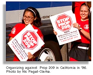 Students against Prop 209 in San Diego. Photo by Nic Paget-Clarke