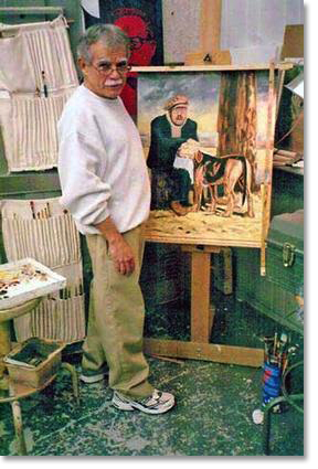 Oscar Lopez at the easel, painting of former prisoner Carlos Alberto Torres with his dog. All painting images courtesy of Oscar López Rivera and the National Boricua Human Rights Network.