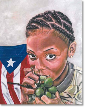 Girl with Quenepas (Spanish limes) and the Puerto Rican flag. All painting images courtesy of Oscar López Rivera and the National Boricua Human Rights Network.