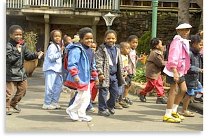 Children arrive for a class at the Windybrow Centre for the Arts