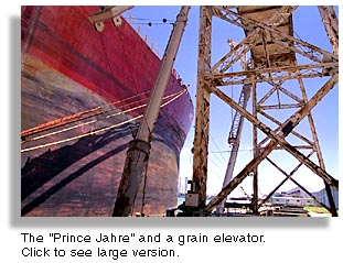 The Prince Jahre and a grain elevator.
