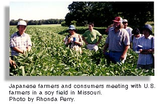Japanese farmers meet with U.S. farmers in Missouri. Photo by Rhonda Perry.