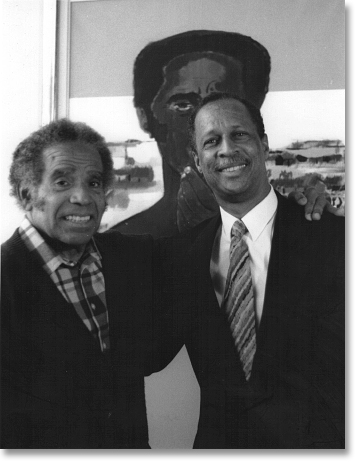 Manuel Zapata Olivella (left) and Ja A. Jahannes (right), August 1993, Bogotá, Colombia. Photo by Magdalena Agüero.
