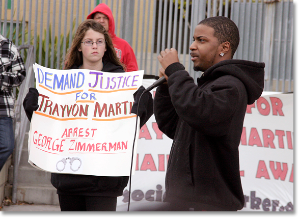 Demanding Justice for Trayvon Martin.