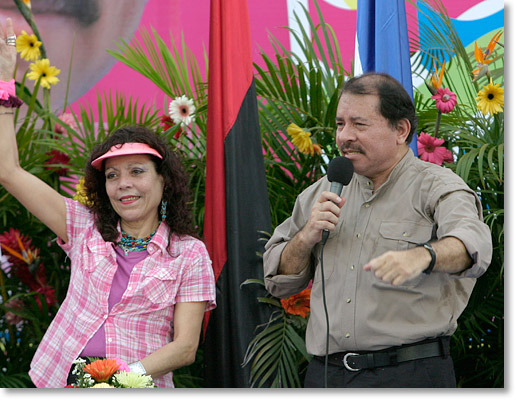 President Daniel Ortega Saavedra of Nicaragua and his wife Rosario Murillo at the 29th anniversary of the Repliegue Tactico a Masaya in Managua, Nicaragua. Photo by Nic Paget-Clarke.