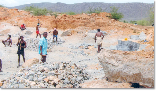 The Nehru Man Self-Help Group - quarry workers in the Naganur village in the Thogaimalai block of Karur district, Tamil Nadu, India. Photo courtesy AREDS.