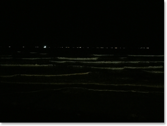 In the dark. A portion of a line of ships wait for permission to enter the Houston Ship Channel. View from the Galveston sea wall. Texas. Photo by Nic Paget-Clarke.