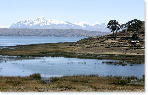 On Kala Uta island on Lake Titicaca looking towards the Cordillera Real range of the Andes, Bolivia. Photo by Nic Paget-Clarke.