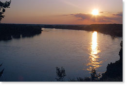 Sunset on the Missouri River outside of Columbia, Missouri.