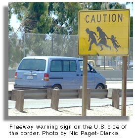 Freeway warning sign.